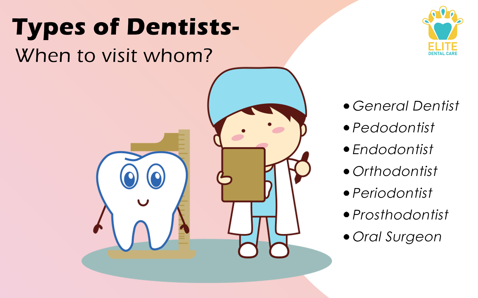 TYPES OF DENTISTS - WHEN TO VISIT WHOM?